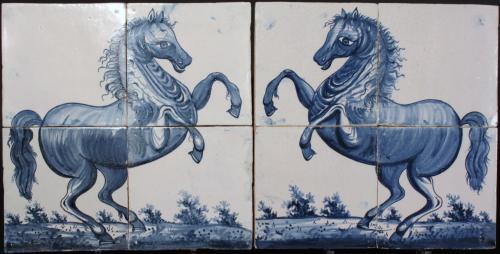 Wunderbare Paar friesischen Harlingen Hand verziert glasierten Kacheln, Pferde.
