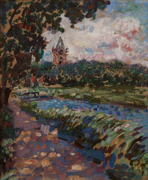 Impressionistic landscape with river, tower in the distance