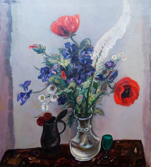 Nature morte avec des coquelicots et des iris