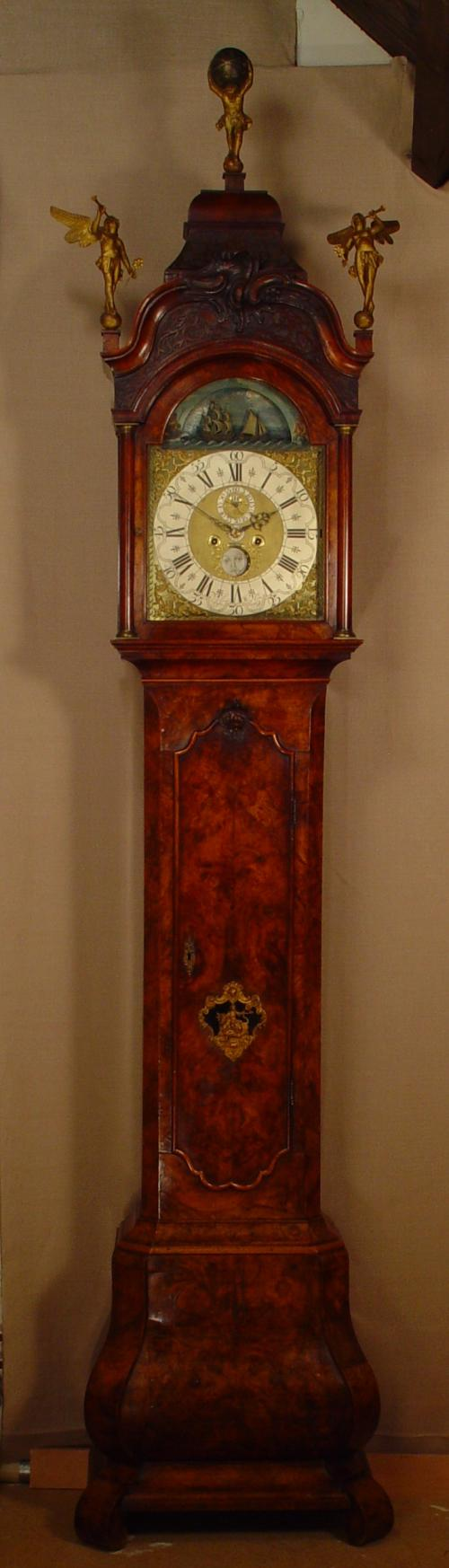 A Dutch Amsterdam burr walnut longcase clock with ships automaton N. Weylandt circa 1750