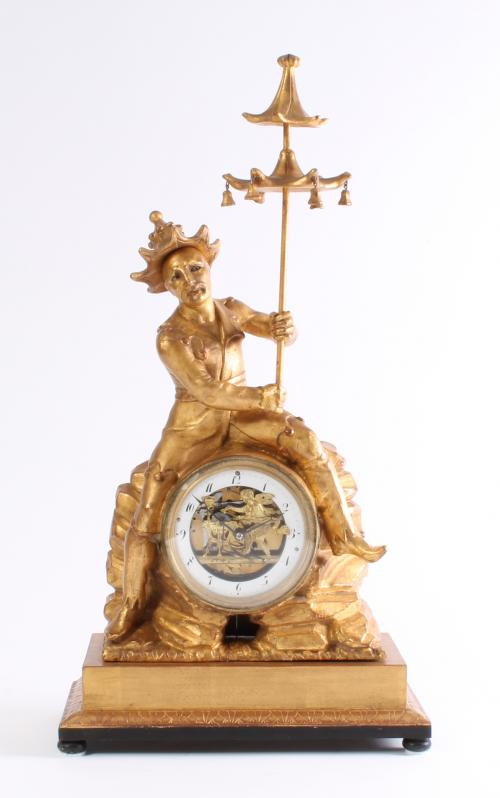 An Austrian parcel gilt sculptural quarter striking mantel clock with double automaton, circa 1830.