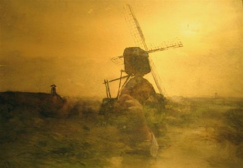 Paysage avec moulin à vent