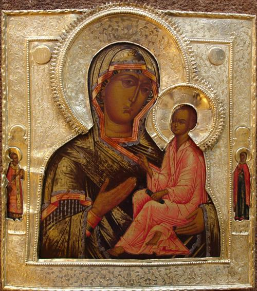 Mère de Dieu de Tikhvine, icône russe en bois, des icônes