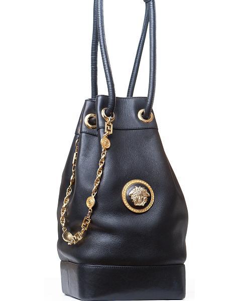 d42350a4a1ff8 Gianni Versace Couture Black Leather Medusa Drawstring Bag